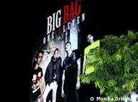 A giant poster advertises the Burmese rock band, Big Bag
