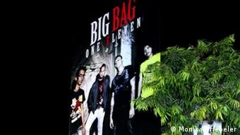 A giant poster advertises the Burmese rock band, Big Bag