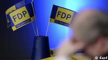 ARCHIV: Ein Delegierter der FDP sitzt in Dortmund waehrend eines ausserordentlichen Landesparteitages vor Papierfaehnchen (Foto vom 27.11.10). Das Dreikoenigstreffen der FDP findet am Freitag (06.01.12) in Stuttgart statt. (zu dapd-Text) Foto: Volker Hartmann/dapd
