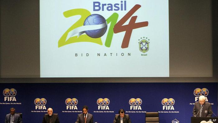 Members of the Brazilian delegation with Brazil's CBF President Ricardo Terra Teixeira, right, during the bid presentation for the FIFA 2014 World Cup presentation at the FIFA headquarters in Zurich, Switzerland, Tuesday, Oct. 30, 2007. (AP Photo/Anja Niedringhaus)
