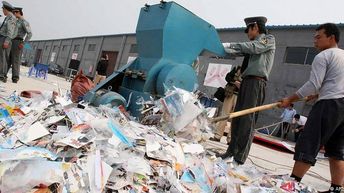 Officials destroy pirated DVDs and music CDs