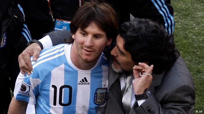 Argentina head coach Diego Maradona, right, and Argentina's Lionel Messi, left walk off the pitch after the World Cup group B soccer match between Argentina and South Korea at Soccer City in Johannesburg, South Africa, Thursday, June 17, 2010. Argentina won 4-1. (ddp images/AP Photo/Marcio Jose Sanchez)
