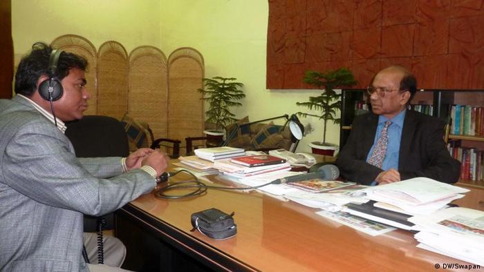 DW Dhaka correspondent is taking interview of Samsuzzaman Khan, Director General of Bangla Academy, Dhaka, Bangladesh.