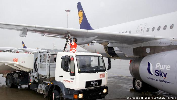 Lufthansa Airbus A321 jet being topped up with biofuel in Hamburg