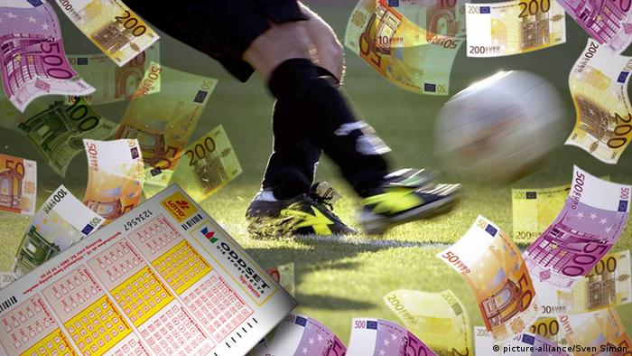 symbolic picture of a player kicking a ball, surrounded by euro notes