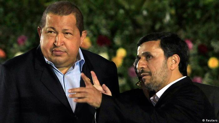 Chávez (left) and Iran's President Mahmoud Ahmadinejad REUTERS/Oswaldo Rivas (NICARAGUA - Tags: POLITICS)