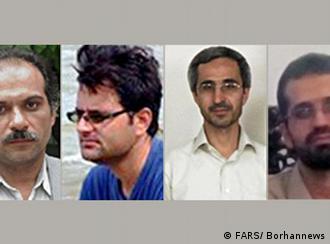 از چپ به راست: مسعود علیمحمدی، داریوش رضائی، مجید شهریاری و مصطفی احمدی روشن چهار کارشناس هستهای که تاکنون ترور شدهاند