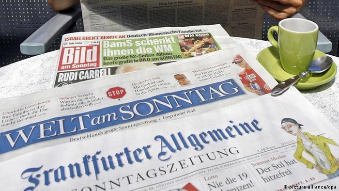 Capas das edições dominicais dos jornais Bild am Sonntag, Welt am Sonntag, Frankfurter Allgemeinen Sonntagszeitung