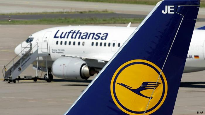 airplane carrying Lufthansa company logo