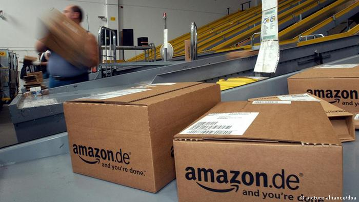 Packed boxes at Amazon's Bad Hersfeld logistics center, pictured on 18.6.2003.