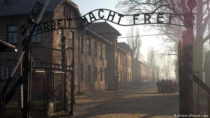 A picture of the entrance to Auschwitz