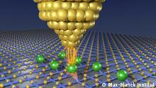 Bit_assembly_model: Aufbau eines Nano-Antiferromagneten mit atomarer Präzision. Mit der Spitze eines Rastertunnelmikroskops werden Eisenatome in einem regelmäßigen Muster auf einer Kupfernitrid-Oberfläche platziert.