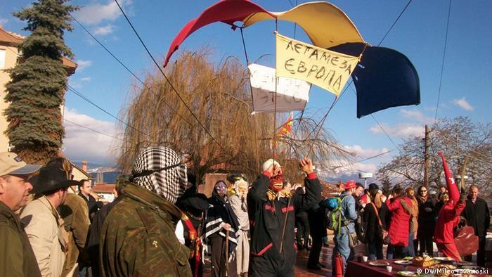 Сцена од годинешниот карневал во Вевчани