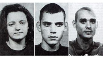 De izquierda a derecha, los integrantes del grupo terrorista NSU: Zschäpe, Böhnhardt y Mundlos.