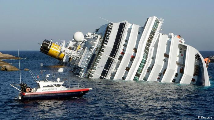 The capsized Costa Concordia off the Italian island of Giglio