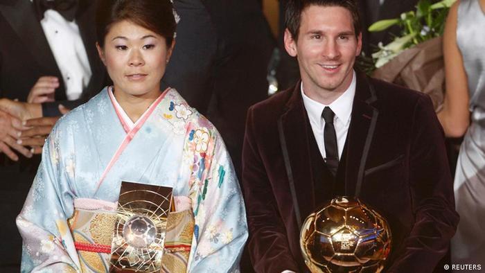 Homare Sawa und Lionel Messi Fussballer des Jahres 2011