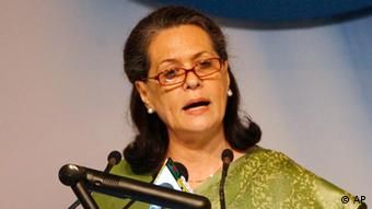 Sonia Gandhi, President of India's main ruling party, Congress, delivers a speech during an international Autism conference in Dhaka, Bangladesh, Monday July 25, 2011. (Photo: AP)