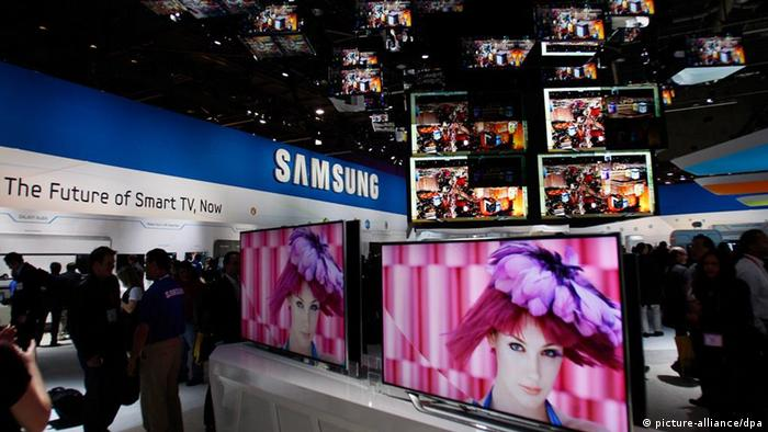 the Samsung display at the 2012 International Consumer Electronics Show EPA/DAN GLUSKOTER