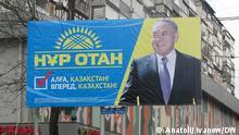 Parlamentarische Wahlen in Kasachstan. Wahlplakate. Die Bilder hat DW-Korrespondent in Kasachstan Anatolij Ivanow am 15.01.2012 in Alma- gemacht. Wir haben alle Rechte.