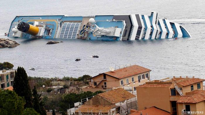 A view of the Costa Concordia cruise ship that ran aground off the west coast of Italy at Giglio island January 15, 2012.