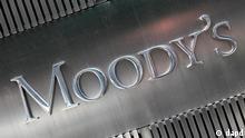 ARCHIV: Das Logo der Ratingagentur Moody's, aufgenommen in New York (USA) (Foto vom 24.08.10). Am 7. Maerz 2011 senkt die Ratingagentur Moody's die Kreditwuerdigkeit Griechenlands um drei Stufen herab. (zu dapd-Text) Foto: Mark Lennihan/AP/dapd