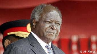 Kenyan President Mwai Kibaki, speaking after protests against a bonus for MPs (Sayyid Azim/AP)