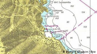 Carta náutica del Costa Concordia.