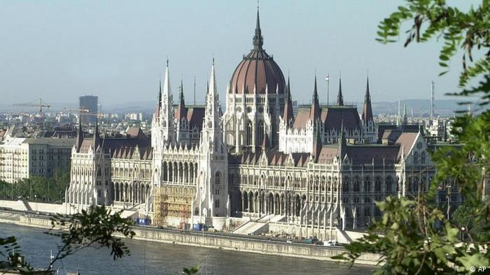 View of the Hungarian Parliament Building on the Danube River in Budapest