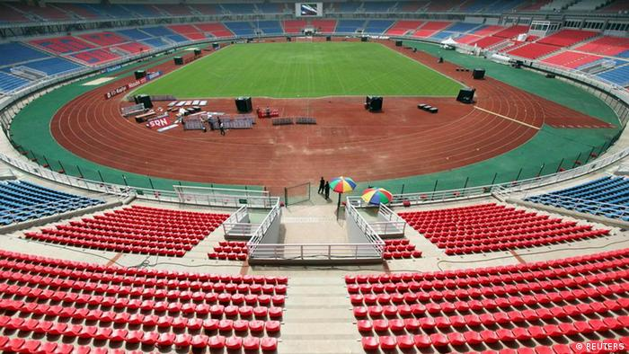 General view of the Estadio de Bata Bata Stadium which will host the opening ceremony for the African Nations Cup, in Bata January 17, 2012. The African Nations Cup is being co-hosted by Equatorial Guinea and Gabon from Jan. 21 to Feb. 12. REUTERS/Amr Abdallah Dalsh (EQUATORIAL GUINEA - Tags: SPORT SOCCER)