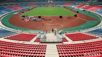 Uma vista geral do estádio de Bata onde terá lugar a cerimónia inaugural do CAN 2012
