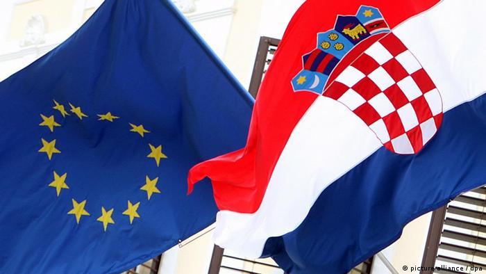 An EU and a Croatian flag