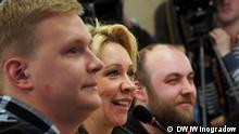 Teilnehmer der Pressekonferenz zur Liga der Wahlen in Moskau