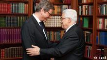«آلمان برای تشکیل یک کشور فلسطینی کمک خواهد کرد»؛ عکس: محمود عباس و گیدو وستروله، وزیر امور خارجه آلمان -  ژانویه ۲۰۱۲ در برلین