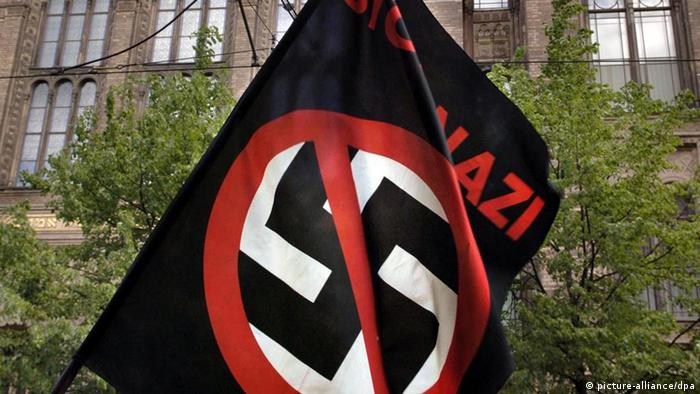 a flag with a crossed-out swastika