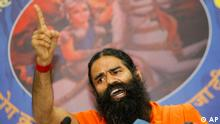 Indian yoga guru Baba Ramdev addresses a press conference in New Delhi, India, Saturday, Sept. 3, 2011. Reacting after the Enforcement Directorate (ED) on Thursday registered a foreign exchange violation case against Ramdev and his trust, the yoga guru alleged that this was an attempt by the Government to force him to stop his campaign against corruption and black money. (ddp images/AP Photo/Gurinder Osan)