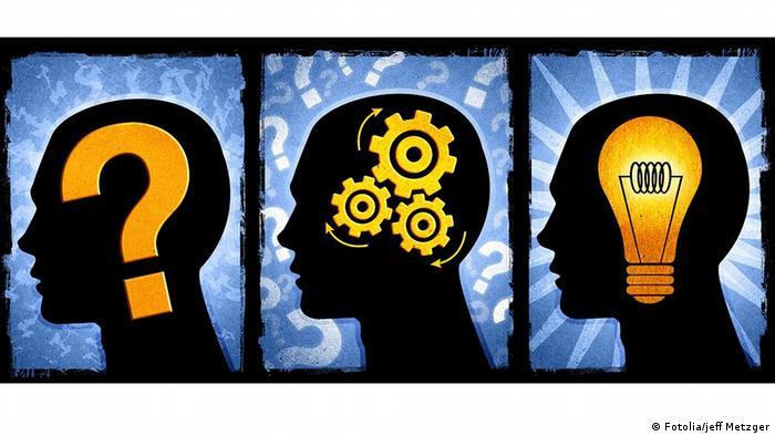 Symbolbild Denken Kopf Grafik Fragezeichen Birne Zahnrad