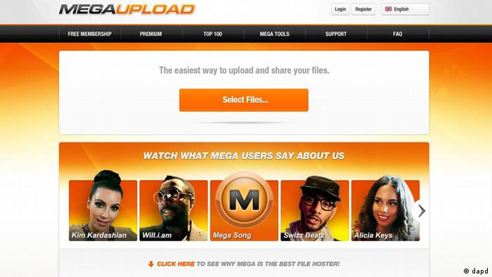 Homepage of the website Megaupload.com. (Photo:AP/dapd)