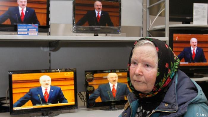 Belarus' Alexander Lukaschenko on TV