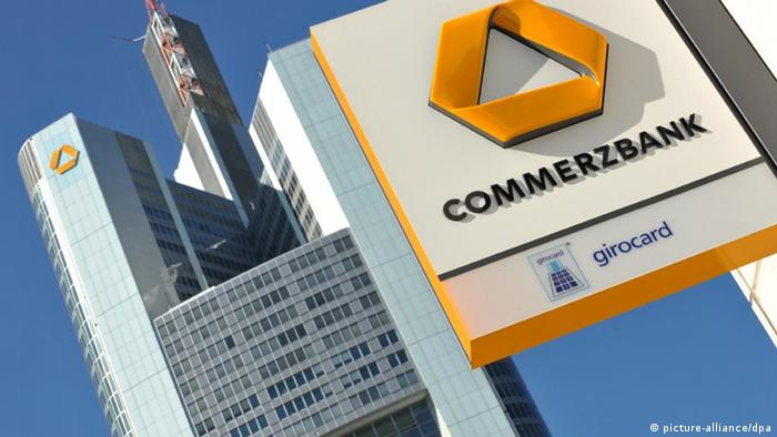 Commerzbank logo at the German lender's Frankfurt headquarters Photo: Arne Dedert dpa +++(c) dpa - Bildfunk+++