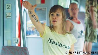 Andrea Levshin in a still image from the film Kreigerin