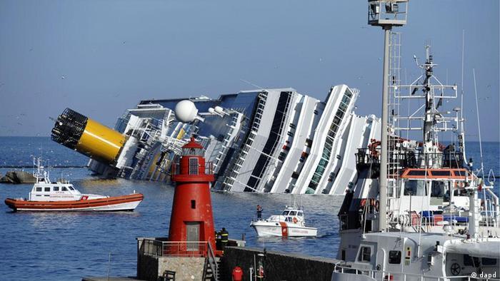 Picture of the capsized Costa Concordia cruise ship
