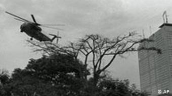 US marine helicopter lifts off from landing pad during the evacuation of Saigon on April 30, 1975