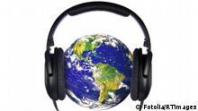 Welt Erde Globus Kopfhörer Musik Headphones