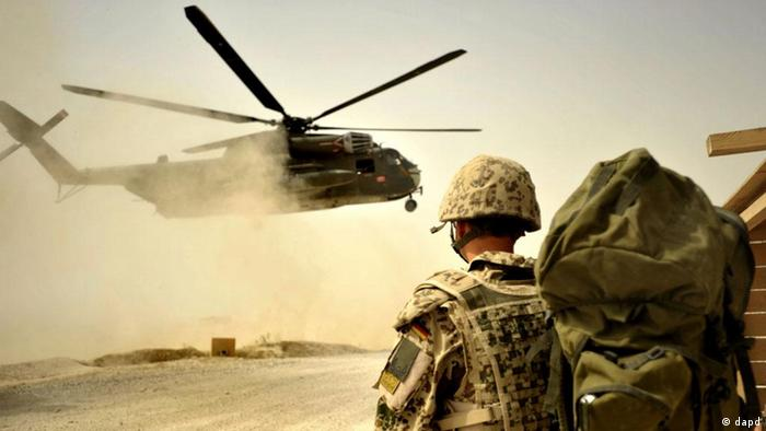 Helicopter, German soldier in Afghanistan