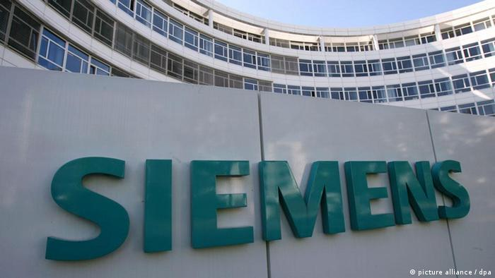 Siemens logo at the company's HQ in Munich