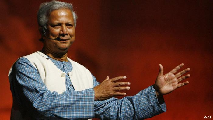 Nobel Peace Prize winner Muhammad Yunus speaks during a business forum in Athens on Wednesday, Oct. 3, 2007. Yunus Bangladeshi economist and the Grameen Bank he founded won the Nobel Peace Prize in 2006 for their pioneering use of tiny, seemingly insignificant loans microcredit to lift millions out of poverty. (AP Photo/Thanassis Stavrakis)