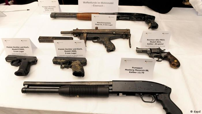 Guns displayed by the public prosecutor