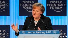 German Chancellor Angela Merkel, delivers the opening address at the World Economic Forum in Davos, Switzerland, Wednesday, Jan. 25, 2012. The overarching theme of the Meeting, which will take place from Jan. 25 to 29, is The Great Transformation: Shaping New Models. (Foto:Michel Euler/AP/dapd).