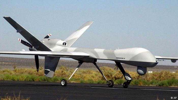 The unmanned Predator B taxis back to the hangar in El Mirage, California