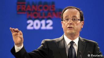 Francois Hollande, Socialist Party candidate for the 2012 French presidential election, delivers a speech in Paris January 26, 2012. Hollande said he will raise taxes on the rich, cut tax on profits for smallest firms and cancel billions of euros of tax breaks. REUTERS/Charles Platiau (FRANCE - Tags: POLITICS ELECTIONS BUSINESS)